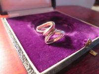Hübscher 925 Silber Ring Auffällig Verschlungen Knoten Vintage Retro Geschwungen