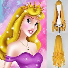 Princess Sleeping Beauty Aurora Cosplay Requisit Perücke Gold 70cm Lockiges Haar