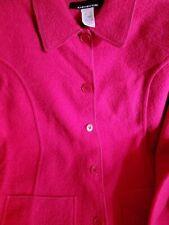 Jones New York Boiled Wool S Pink Jacket Women's Pockets Fuchsia
