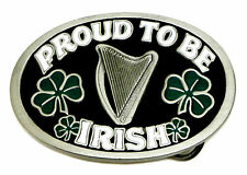Irish Patriot Belt Buckle Proud To Be Irish Harp 4 Leaf Clover Authentic Product