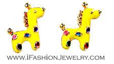 Cute Gold Tone Yellow Giraffe Wild Animal Colorful Stud Earrings Fashion Jewelry