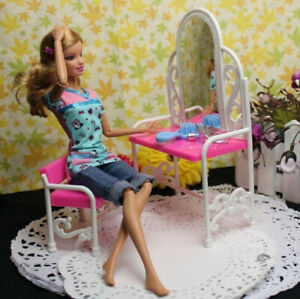 Barbie Doll Furniture Accessories Dresser Table with Chair For Barbie Dolls Toys