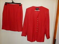 Adolfo Atelier 2 Piece Women Solid  Red Skirt Suit Size 14