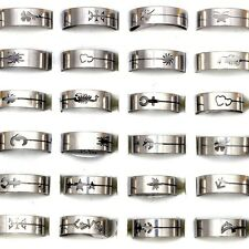 60pcs Silver Stainless Steel Rings Wholesale Bulk Lots Jewelry Size 17-22 Random