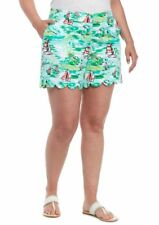 Crown & Ivy Women's Scallop Hem Sailboat Printed Stretch Twill Shorts Size 20W