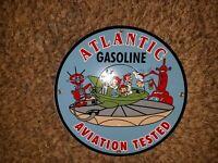 VINTAGE ATLANTIC AVIATION PORCELAIN SIGN GAS SERVICE STATION PUMP PLATE 63