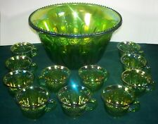 Indiana Glass Iridescent Lime Carnival Glass Princess Punch Bowl with 11 Cups