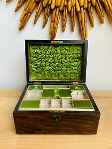Antique Wooden Veneered Jewellery Box with Letter Compartment