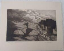 "HARRY BANKS 1869-1946 Original Signed Etching ""Sospel Alpes-Maritimes"""