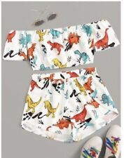 Dinosaur Print Co Ord Shorts & Top New Without Tags Sz 14/16 From Shein
