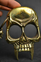 Collectible Copper Vintage Skull Warrior Guarder Decor Nice Statue