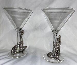 Arthur Court Designs Set of 2 Martini Glasses Metal Alligator Giraffe Crocodile