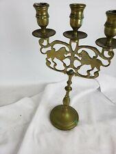 "Vintage New York Brass Lion of Judah 11.25"" Candle Holder Judaica"