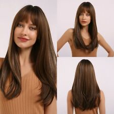 Women Hair Wigs With Bangs Brown Blonde Purple Orange Red Straight Long Cosplay