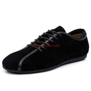 Chic Mens Suede Sneakers Casual Lace Up Flat Comfortable Leather Soft Shoes