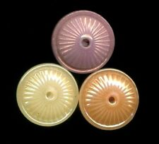 3 Antique China Lustered Whistle Buttons…Orange Yellow Pink…Pattern #6