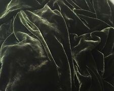 "Silk VELVET Fabric DARK OLIVE GREEN fat 1/4 18""x22"" remnant"