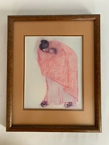 Untitled Woman Red Blanket Print by RC Gorman 1970s Matted Framed NON-smoking