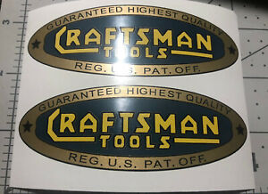 """Craftsman Tools Blow Torch Box vintage style decal 4"""" Set 2 blue gold yellow"""