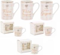 Fine China Mug Diamante & Wording Mothers Day Mum Nan Friend Coffee Gift Boxed