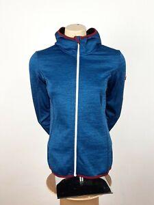 Ortovox Fleece Melange Hoody Blue Size M Full Zip Jacket Merino Wool Women's