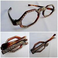 Vintage Folding Spectacles Eye Glasses 1950s Faux Tortoiseshell Rhinestone 50s