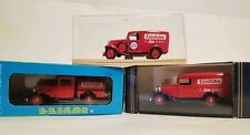 Elicor lot of 3 Essolube delivery trucks pressed steel diecast w cases France