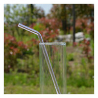 2X(7.08 inch 8mm Reusable Bend Glass Drinking Thick Straws Wedding Party Tr5T9)