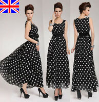 UK LADIES WOMENS SUMMER LONG MAXI DRESS SKIRT CHIFFON EVENING PARTY SIZE 8-20