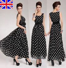 UK LADIES WOMENS SUMMER LONG MAXI DRESS SKIRT CHIFFON EVENING PARTY SIZE 8-20