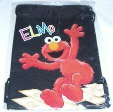 Black Color Sesame Street Elmo Drawstring Backpack Kid's Sling Tote Gym Bag