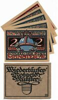 **1921 MUNSTER + RARE folder - REBELLION! ~ Complete UNC Set German Notgeld