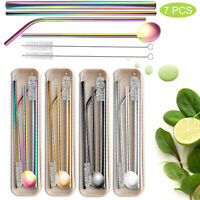 Reusable Drinking Straws Set Stainless Steel Metal With Case+Cleaning Brush Pack