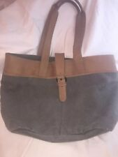 VTG LL Bean Green Canvas Large Tote Carry All Leather Trim Handles RARE