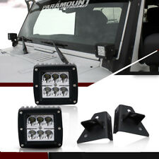 """2pc 3""""LED Fog Lights Spot Beam+Mounting Brackets For  Jeep Wrangler YJ 1976-1995"""