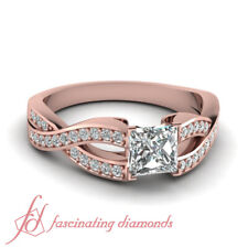 .75 Ctw. Princess Cut Diamond Rose Gold Wedding Ring With Pave Set Round Accents