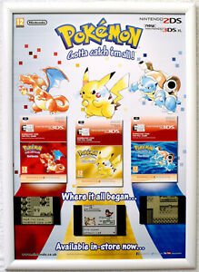 Pokemon Red / Yellow / Blue Version RARE 3DS 42cm x 59cm Promotional Poster