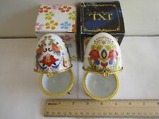 2 PCS FOR RUSSIA EGG-MIDNIGHT BLUE GOLD LEAF3 FOOTED LIDDED BOX NEW,Random Sale