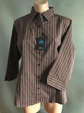 BNWT Ladies Sz 18 DNC Workwear Corporate Choc Stripe Business 3/4 Sleeve Shirt