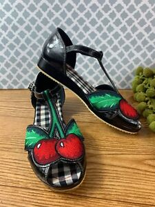 miss L fire cherry pop peep toe sandles Embroidered Cherry Rockabilly Pinup Blk