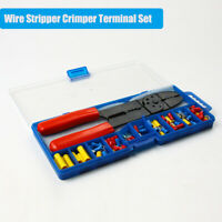 Red Crimper Plier Wire Cutter Stripper and 46 pcs Electrical Terminal Connector