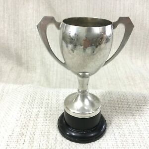 1976 Vintage Trophy Cup Silver Plated Mounted Base Twin Handled Football Soccer
