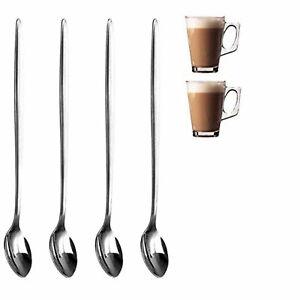 4x Stainless Steel Long Handle Latte Glass Ice Cream Sundae Coffee Spoons 20cm