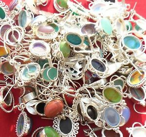 Turquoise & Mix Earrings 10 Pair 925 Sterling Silver Plated Earring EE-45