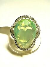 Sterling Silver & Green Milky Opal CZ Adjustable Ring, Approx. Size 8+