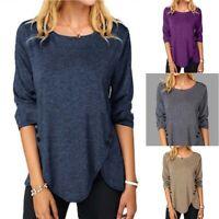 Buttons Tunic Blouse Asymmetrical Long Ladies T Casual Women's Sleeve Tops Shirt