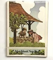 """Vintage Matchbook Style Note Pad 50 Sheets Wishing Well Girl Boy Art 4.5"""" Agora"""