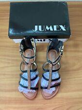 Jumex Ladies Gladiator Flat Sandals - Black - Size 7