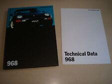 Porsche 968 Reino Unido Folleto de ventas agosto 1993 Tapa Dura + técnico nuevo, Viejo Stock