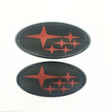 Fits Impreza W  X S  I Front & Rear Carbon Fiber Red Badge Emblem Free Shipping